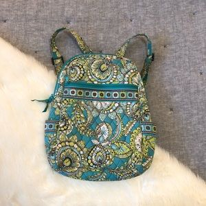 Vera Bradley mini backpack green & blue paisley